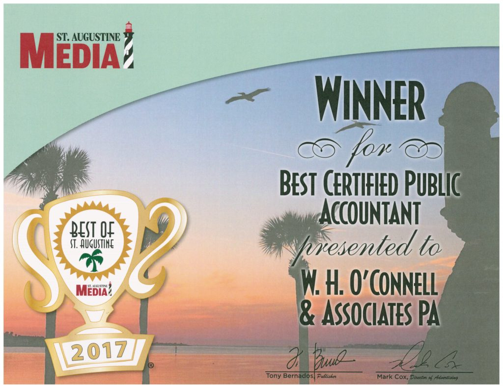 Best of St. Augustine 2017 Certifcate